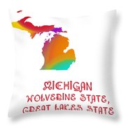 Michigan State Map Collection 2 Throw Pillow
