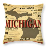 Michigan State Pride Map Silhouette  Throw Pillow