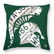 Michigan State Spartans Sports Retro Logo License Plate Fan Art Throw Pillow
