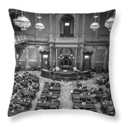 Michigan Tate Senate Black And White From Above Throw Pillow