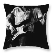 Mick Playing Rock Guitar In 1977 Throw Pillow