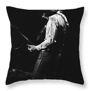 Mick Playing Guitar In 1977 Throw Pillow