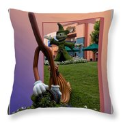 Mickey And Broom Floral Walt Disney World Hollywood Studios Throw Pillow