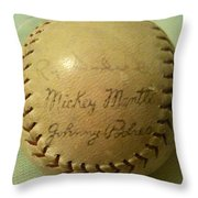 Mickey Mantle Baseball Autograph Throw Pillow
