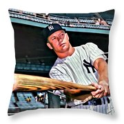 Mickey Mantle Painting Throw Pillow