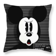 Mickey Mouse Disney Mug Shot Throw Pillow by Tony Rubino