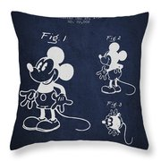 Mickey Mouse Patent Drawing From 1930 Throw Pillow by Aged Pixel