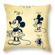 Mickey Mouse Patent Drawing From 1930 - Vintage Throw Pillow