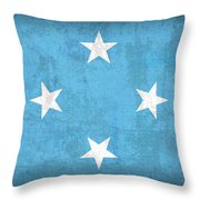 Micronesia Flag Vintage Distressed Finish Throw Pillow