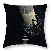 Microphone On Black Throw Pillow