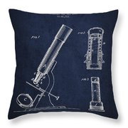 Microscope Patent Drawing From 1865 - Navy Blue Throw Pillow