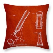 Microscope Patent Drawing From 1865 - Red Throw Pillow