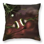 Microscopic Image Of Brain Neurons Throw Pillow