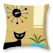 Mid Century Ball Clock 2 Throw Pillow