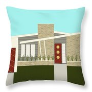 Mid Century Modern House 3 Throw Pillow by Donna Mibus