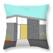 Mid Century Modern House 2 Throw Pillow by Donna Mibus