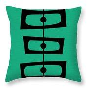 Mid Century Shapes On Aqua Throw Pillow