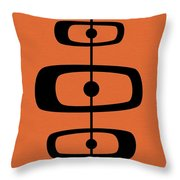 Mid Century Shapes 2 On Orange Throw Pillow