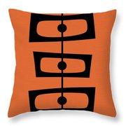Mid Century Shapes On Orange Throw Pillow