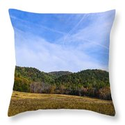 Mid-morning Panorama At Cades Cove Throw Pillow