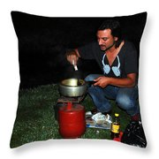 Mid Night Cooking At River Bank Throw Pillow