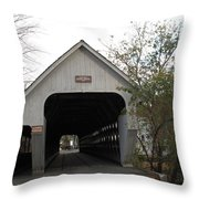 Middle Bridge Back Woodstock Vermont Throw Pillow