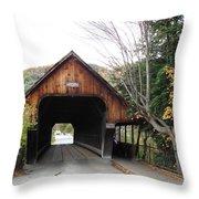 Middle Bridge Front Woodstock Vermont Throw Pillow