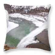 Middle Falls And Ice Feathers Throw Pillow