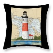 Middle Island Lighthouse Mi Cathy Peek Nautical Chart Art Throw Pillow