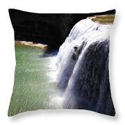 Middle Waterfalls In Letchworth State Park II Throw Pillow