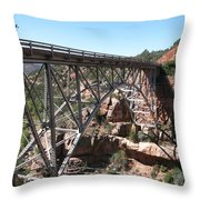 Midgley Bridge Over Oak Creek Canyon Throw Pillow