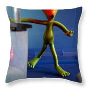Midnight Alien Skinnydipping Party Throw Pillow