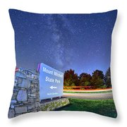 Midnight At Mount Mitchell Entrance Sign Throw Pillow