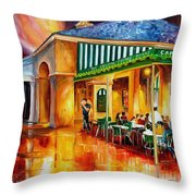 Midnight At The Cafe Du Monde Throw Pillow