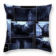 Midnight At The Prison Collage Throw Pillow