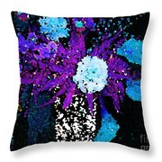 Midnight Callas And Orchids Abstract Throw Pillow