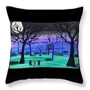 Midnight Cat Gathering Throw Pillow