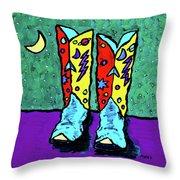 Midnight Cowboy Boots Throw Pillow