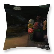 Midnight Flowers On The Beach Throw Pillow