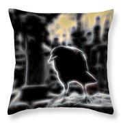 Midnight Glow Crow Throw Pillow