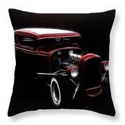 Midnight Hot Rod Red Throw Pillow