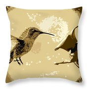 Midnight Hummingbird Throw Pillow