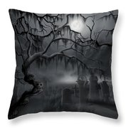 Midnight In The Graveyard  Throw Pillow