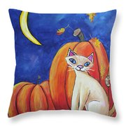 Midnight In The Pumpkin Patch Throw Pillow