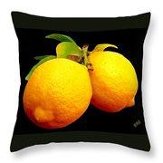 Midnight Lemons Throw Pillow