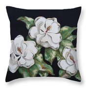 Midnight Magnolia Throw Pillow