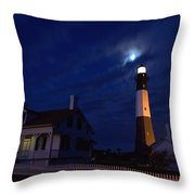 Midnight Moon Over Tybee Island Throw Pillow