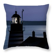 Midnight Moonlight On West Quoddy Head Lighthouse Throw Pillow