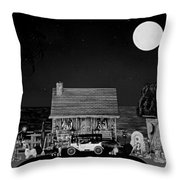 Midnight Near The Sea In Black And White Throw Pillow