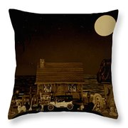 Midnight Near The Sea In Sepia Color Throw Pillow
